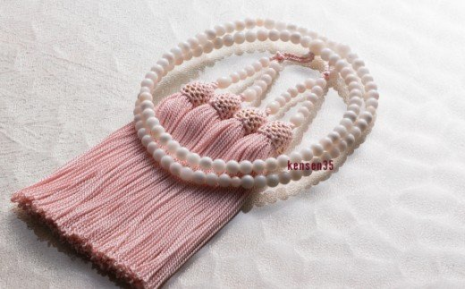 【宝石サンゴ】白珊瑚本連数珠(女性用)