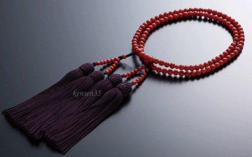 赤サンゴ本連数珠(赤サンゴ5mm玉使用)