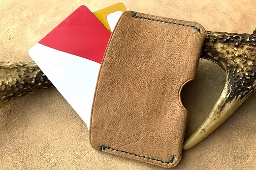 【F-8⑥】鹿革のカードケース -茶・無染色-(シンプル小さめ)
