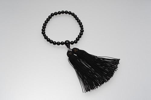 【AU-10】黒珊瑚の数珠(選べるケース付)