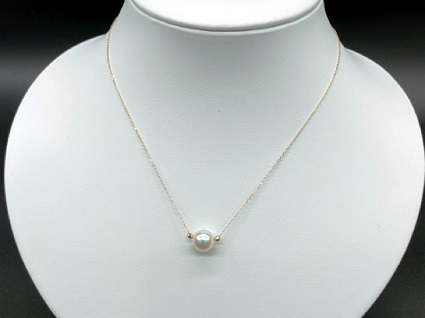 【CJ-1】あこや本真珠(バロック真珠)8ミリ珠&ミラーボールの「スルーペンダント」(ゴールド)