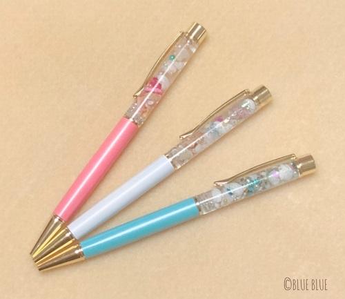 【N-22】海のハーバリウム風ボールペン(0.7㎜) 3色セット