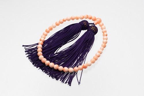 【BK-3】ピンク珊瑚の数珠(珠径5㎜~8.5㎜)