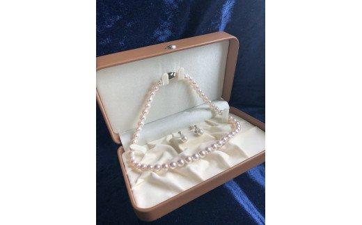 "【BS-2】あこや本真珠8ミリ珠の""ネックレス&イヤリングの2点セット"""