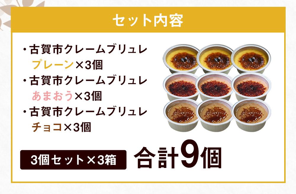 こがしクレームブリュレ3種(プレーン・あまおう・チョコ)×3個セット(9個入り)江口製菓(株)
