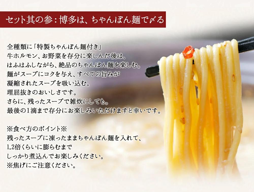 AA30.【博多若杉】もつ鍋4~5人前セット(あごだし醤油)