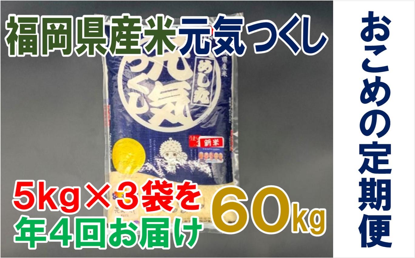 J035.【定期便】《福岡県産米》元気つくし15kg×年4回.合計60kg