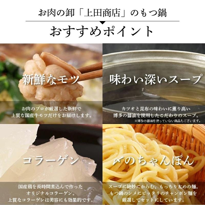 "B003.《肉屋厳選""国産牛もつ鍋""》博多もつ鍋セット(醤油)5人前"