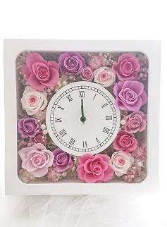 CD02.花時計(正方形)プリザーブドフラワー