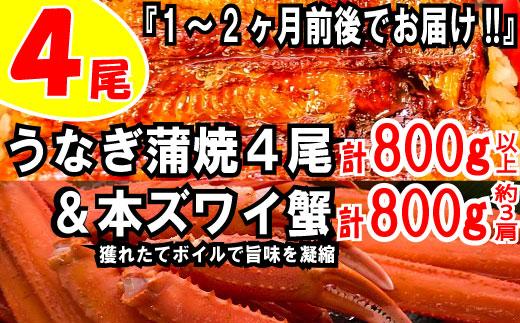 B181.うなぎの蒲焼4尾&ボイル本ズワイ蟹800g【海鮮プロの満足セット】