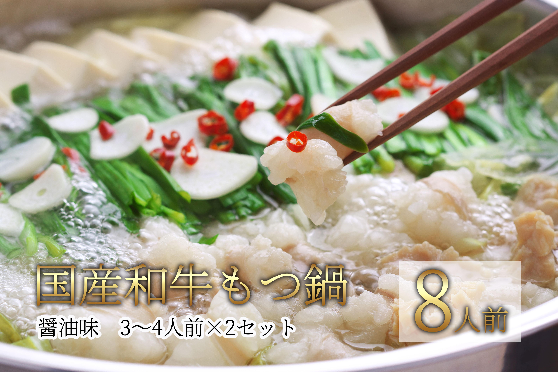 2M1 博多もつ鍋(国産和牛醬油味)3~4人前×2セット