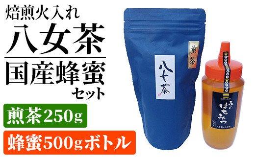 BM010・焙煎火入れ八女茶・国産蜂蜜セット(煎茶250g・蜂蜜500gボトル)