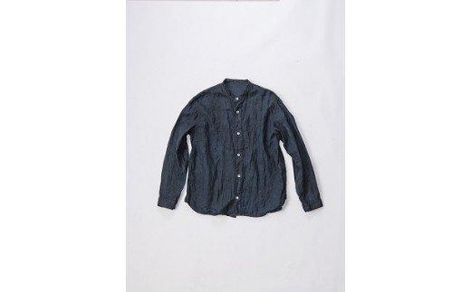 AO051 手染めリネン切替シャツ サイズ2 BLACK (泥藍染)