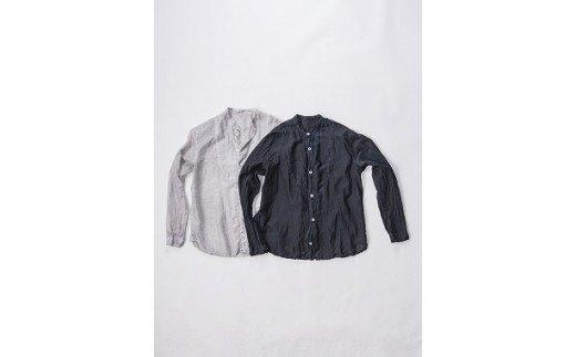 AO036 手染めシルクコットン切替シャツ サイズ2 BLACK(泥藍染)