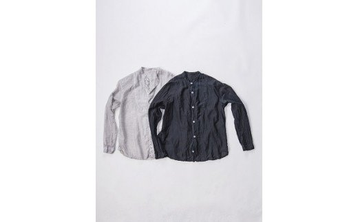 AO039 手染めシルクコットン切替シャツ サイズ3 BLACK(泥藍染)