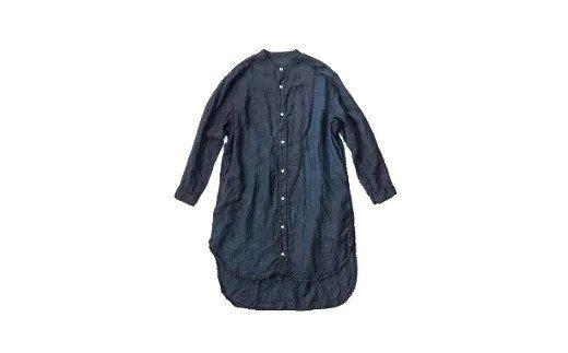 AO069 手染めリネン切替BIGシャツ BLACK(泥藍染)