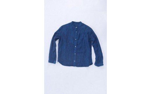 AO023 手染めリネン切替シャツ サイズ2NAVY(藍染)