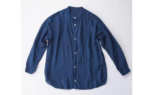 AO037 手染めシルクコットン切替シャツ サイズ3 NAVY(藍染)