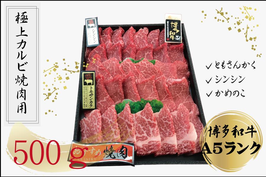 2T6  博多和牛3種のしんたま焼肉 (A-5等級) 冷凍500g(ともさんかく100g、シンシン200g、かめのこ200g)