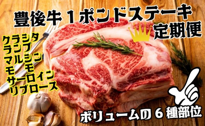 豊後牛の豪快1ポンドステーキ定期便/計6回発送