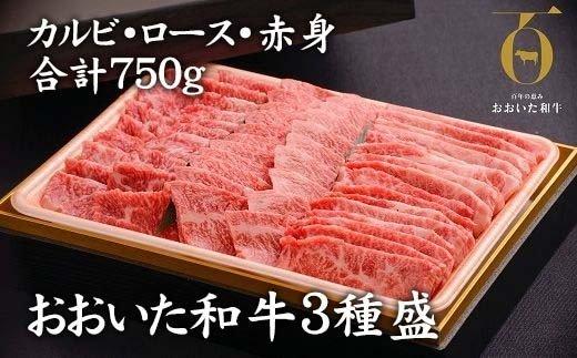 おおいた和牛3種盛(カルビ・ロース・赤身)(合計750g)【1089360】