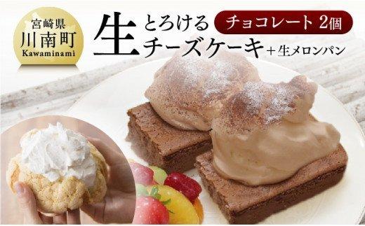『押川春月堂本店』とろける生チーズケーキセット(チョコ×2個)