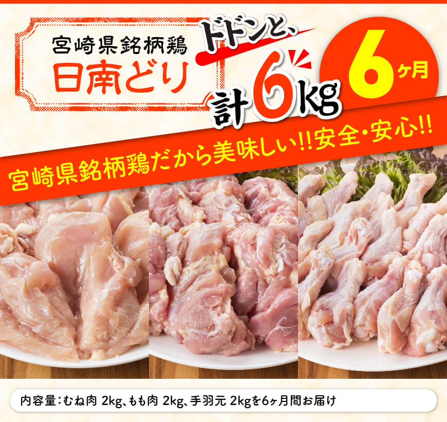 日南どり もも肉2kg & 手羽元2kg & むね肉2kg 計6kg セット 【6ヶ月定期便】