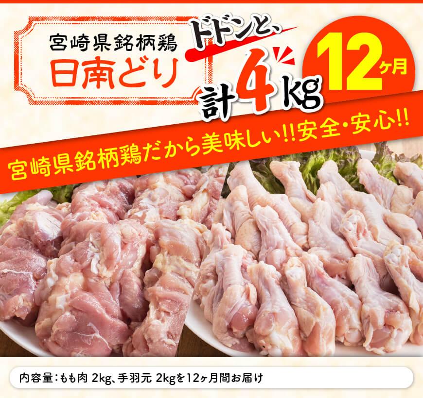 日南どり もも肉 2kg & 手羽元 2kg 計4kg セット 【12ヶ月定期便】