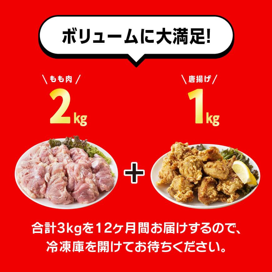 日南どり 唐揚げ 1kg & もも肉 2kg セット 計3kg 【12ヶ月定期便】