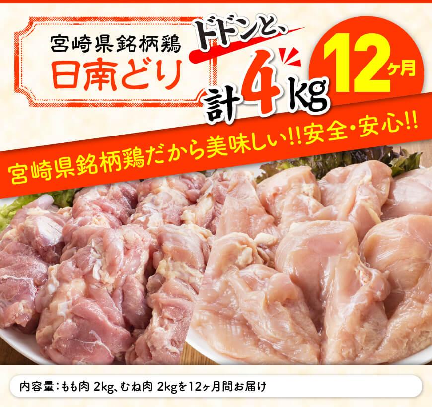 日南どり もも肉 2kg & むね肉 2kg セット 計4kg 【12ヶ月定期便】