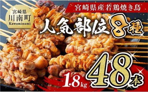 人気部位串焼き48本(各8本×6袋)1.8kg