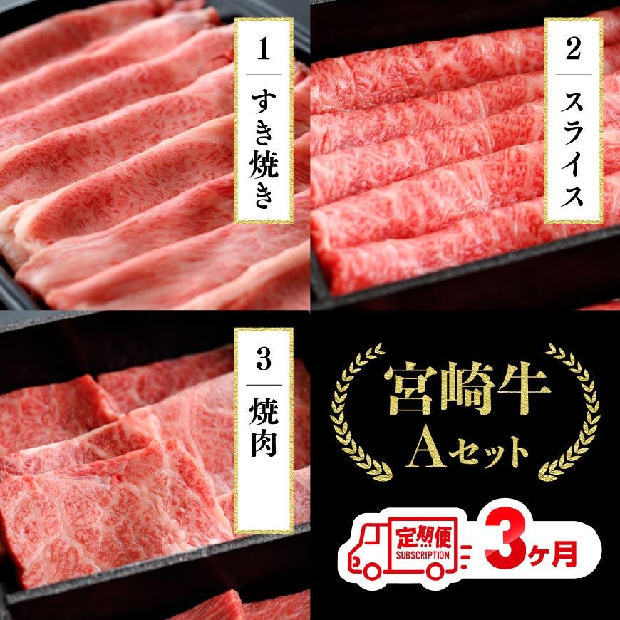 宮崎牛定期便A(すき焼き・スライス・焼肉) 3ヶ月コース