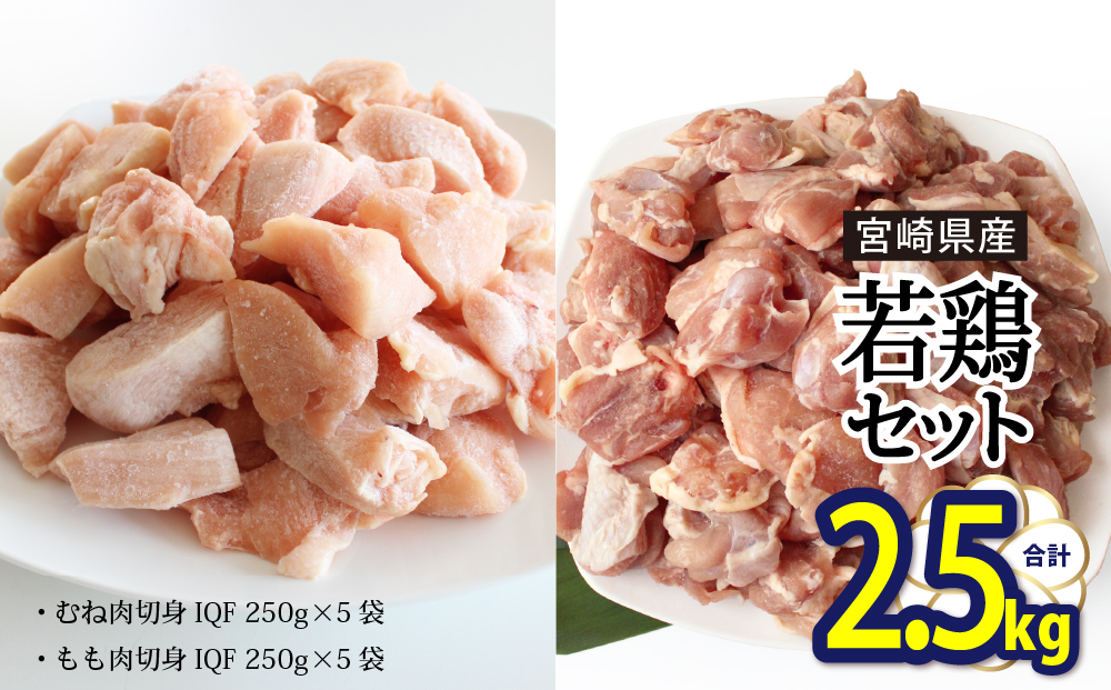 宮崎県産若鶏もも・むね切身 ほぐれやすくて便利な小分け10袋セット 合計2.5㎏