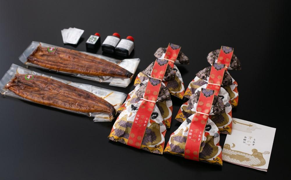 【鹿児島県産 鰻】うなぎ専門店「万のせ」 うなぎ蒲焼2尾(手焼き)とおむすび6個セット