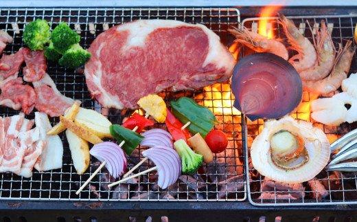 【鹿児島県産】極上BBQセット6人前 2.1kg (黒毛和牛&黒豚/海鮮4種)